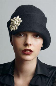 Flu's Ear black wool cloche style hat with resin stone detail. #millinery #cloche #judithm