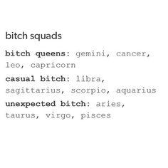 12 Zodiac Signs Bitch Squads: Queens~Cancer Zodiac Sign♋