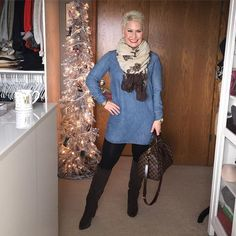 Black leggings & booties, denim tunic, and scarf - I can do that.  GRACIOUS SOUTHERN LIVING