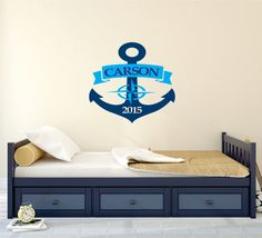Personalized Nautical Wall Decal, Personalized Anchor Wall Decor, Nursery Name Decal, Vinyl Wall Decal, Ships Anchor