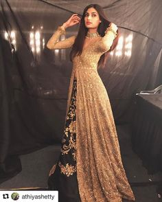 Athiya Shetty the Beautiful Indian Actress. Indian Party Wear, Indian Wedding Outfits, Pakistani Wedding Dresses, Pakistani Outfits, Bridal Outfits, Indian Outfits, Pakistani Gowns, Lehenga Designs, Indian Attire