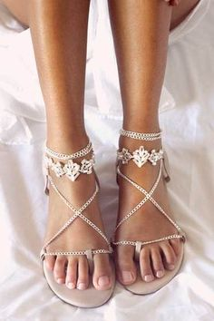 66490523874d29 lala FLAT SANDALS NUDE silver Bridal Sandals