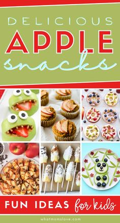 Easy, Healthy Apple Snack for Kids | Amazing ideas of what to make with lots of apples! Use fresh apples in these recipes for a quick breakfast, after school snack, or better for you treat. Fun Easy Recipes, Easy Snacks, Snack Recipes, Easy Meals, Delicious Recipes, Apple Snacks, Fresh Apples, Toddler Snacks, Amazing Ideas
