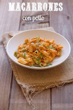macarrones-con-pollo y verduras