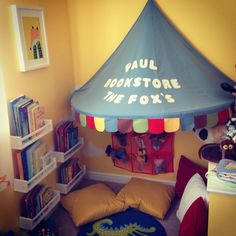 My son's reading corner has been updated to fit within car/city theme. Paul the Fox, is a print from talented PopUp Studio, inspired the name of Junior's reading corner. #kidsroom #reading corner