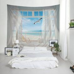 Wall Hanging Art Balcony Beach Print Tapestry - W79 INCH * L59 INCH W79 INCH * L59 INCH Hanging Art, Tapestry Wall Hanging, Wall Hangings, Cheap Wall Tapestries, Home Ceiling, Beach Design, Bedroom Themes, Bedrooms, Beach Print