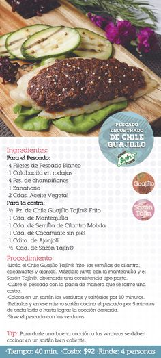 Receta pescado encostrado de chile guajillo (chiles secos)