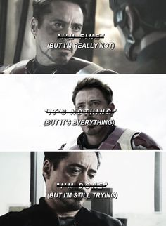 Someone please give Tony Stark a hug. (I'm in Team Cap, but sometimes I feel like it's too much too, he's not the villain, neither do Steve or Bucky.)