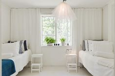 curtains and bedside stools