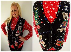 Ugly Christmas Sweater Beaded Sequin Teddy Bear with by mwvintage, $28.00