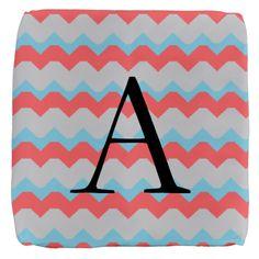 Aqua Gray Coral Chevron Monogram Cube Ottoman on CafePress.com