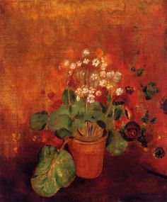 Odilon Redon(1840ー1916)「Flowers in a Pot on a Red Background」