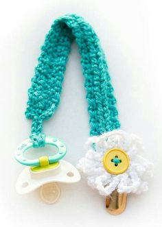 Crochet Baby Pacifier Clips by WinterChains on Etsy