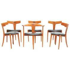 Rare Set of Six Chairs by Kurt Ostervig for Randers of Denmark ca.1950's From a unique collection of antique and modern dining room chairs at https://www.1stdibs.com/furniture/seating/dining-room-chairs/