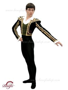 Details: tunic. It is a professional stage costume, which is made of black dense stretch velvet on a lining and has a short silhouette in the Spanish style traditions. The imitation of the waistcoat i