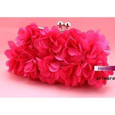 Hot Pink Chiffon Soft Wedding Evening Party Ball Prom Purse Bag Clutch  SKU-1110504