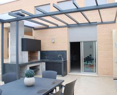 45 Best Outdoor Kitchen,Bar and Barbecue Design Ideas – Home Decor Ideas Modern Outdoor Kitchen, Outdoor Kitchen Plans, Backyard Kitchen, Outdoor Living, Outdoor Decor, Summer Kitchen, Design Barbecue, Barbecue Area, Small Kitchen Renovations