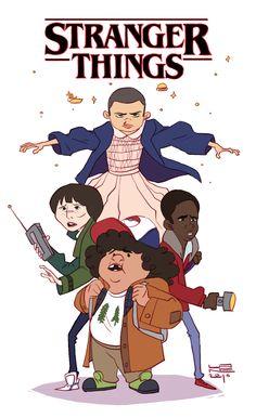 """""""Really enjoying Stranger Things!"""" (Mike Wheeler, Eleven, Dustin Henderson, Lucas Sinclair)"""