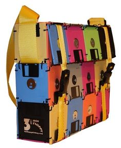 Floppy discs turned computer bag