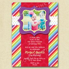 Mod Chic Rainbow Dots and Stripes Photo Birthday by MommiesInk, $12.00