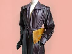 Vintage 80s belted Coat leather Dark Purple Womens 80s goes 40s Long leather coat Elegant Rock fully lined SUper Heroin Bold Shoulder by SuitcaseInBerlin on Etsy