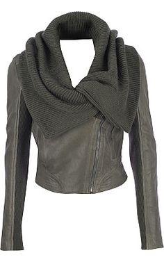 Andrew Marc Vicki - Asymmetrical Leather Jacket w/ Knit Trim