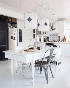 Scandinavian white dining room