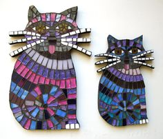 2 Purple Mosaic Tile Mini Cats With Whiskers Stained Glass Decorative Wall Art ADORABLE