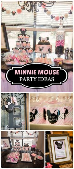 This pink and black Minnie party is fantastic!  It's for a second birthday! See more party planning ideas at CatchMyParty.com!