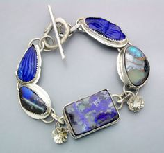 Carved Lapis and Boulder Opal Bracelet by Temi