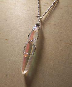 Angel Aura Crystal  Lemurian Crystal  Wire wrap by mandalarain, $34.00