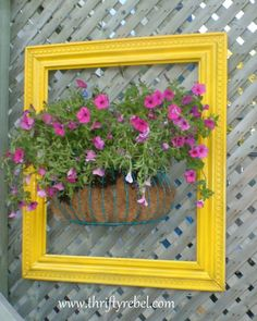 Love the bright frame and basket of growing flowers on the lattice work.  GREAT idea, and not expensive!