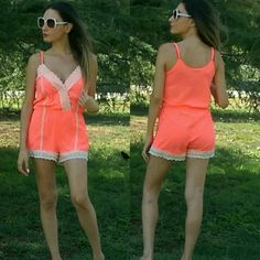 Romper one piece summer essentials Neon orange one piece romper . New with no tags. Perfect for summer , beach, pool cover up, running errands. Adjustable straps.You will get compliments and heads turning with this one. Love this piece. It's sexy without trying to hard. Lace adds girlyness to it. Size S . Price firm unless bundling  *NOT from listed brand, done for exposure. Boutique brand ASOS Dresses