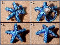 Photo Tutorial for Beaded Sea Star. Could add essential oil to cotton! Beading Projects, Beading Tutorials, Beaded Jewelry Patterns, Beading Patterns, Beaded Starfish, Beaded Animals, Seed Bead Jewelry, Bijoux Diy, Necklaces