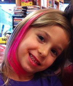 Pink hair extensions for hope ~ Breast Cancer Awareness ~ KidSnips.com