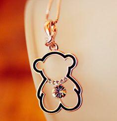 Jeweled Bear Rhinestone Necklace | LilyFair Jewelry, $12.99!