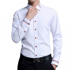 2017 New white Men Dress Shirts Brand Clothing Fashion Camisa Social Casual Men Shirt Slim Fit Long-Sleeve Camisa Masculina Formal Shirts For Men, Cotton Shirts For Men, The Office Shirts, Men Shirts, Shirt Men, Best Casual Shirts, Denim Shirt, Denim Jeans, Long Sleeve Shirt Dress