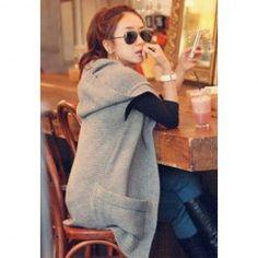 $21.14 Collarless Knitting Large Pocket Sleeveless Gray Woolen Yarn Hooded Sweater Women's Cardigan