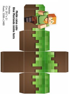 Ossorio Papercraft: Minecraft Cutout Sand and Grass Cube - Cards Alegra Minecraft Crafts, Minecraft Templates, Minecraft Party Decorations, Minecraft Beads, Minecraft Blocks, Minecraft Cake, Mine Craft Party, Minecraft Bedroom Decor, Imprimibles Toy Story