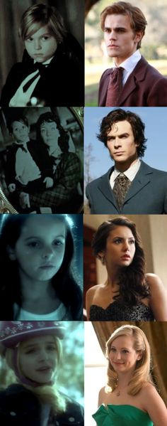 "TVD - The child Stefan, Damon, Elena and Caroline - All was cute. :) -  On picture is DAMON, not Stefan. Stefan on his picture standing alone. Elena keep this picture, because ""this is the only baby picture of my boyfriend"" - Work: D.A."