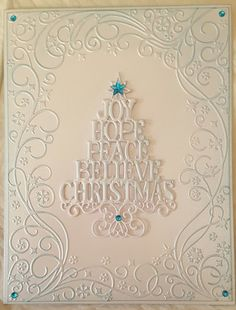 Very quick card using Sue Wilson Die and Embossing folder. Simple Christmas Cards, Homemade Christmas Cards, Christmas Cards To Make, Xmas Cards, Handmade Christmas, Holiday Cards, Christmas Tree Stencil, Christmas Paper Crafts, Paper Cards