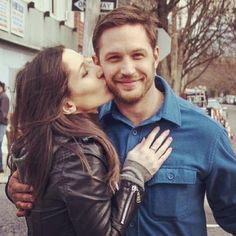"""Noomy Rapace & Tom Hardy on the set of """"The Drop"""" 2013"""