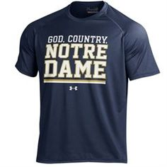 Men's Under Armour Navy Notre Dame Fighting Irish God, Country, Notre Dame On-Field Graphics Performance T-Shirt
