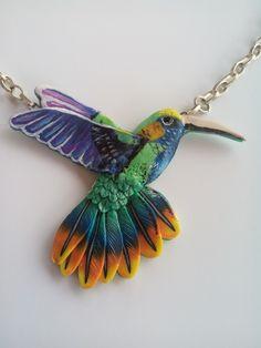 Polymer clay hummingbird  necklace by Manon van Kempen