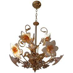 Italian Brass Ans Murano Glass Chandelier | 1stdibs.com