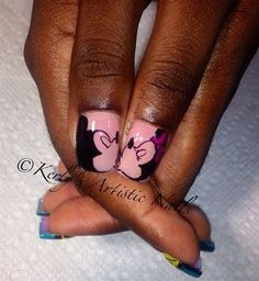 Mickey and Minnie Kiss Nail Art Design