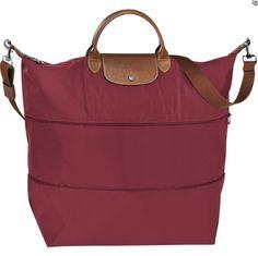 Longchamp Le Pliage Expandable Travel Bag (21 Inch) in Garnet