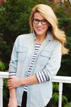 Summer Wind: Layer a long sleeve stripe T under chambray button down