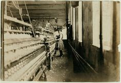 "Child labor 1908: ""This little spinner has been in the mill 4 years. She was about 52 inches high and looked not quite 12 years old. Plenty of others there Newton (N.C.) Cotton Mills."""