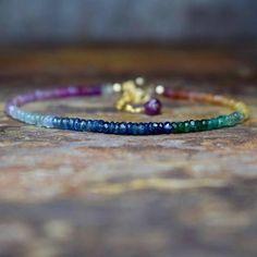 Sapphire Aquamarine & Emerald 14k Gold Fill Gemstone Bracelet